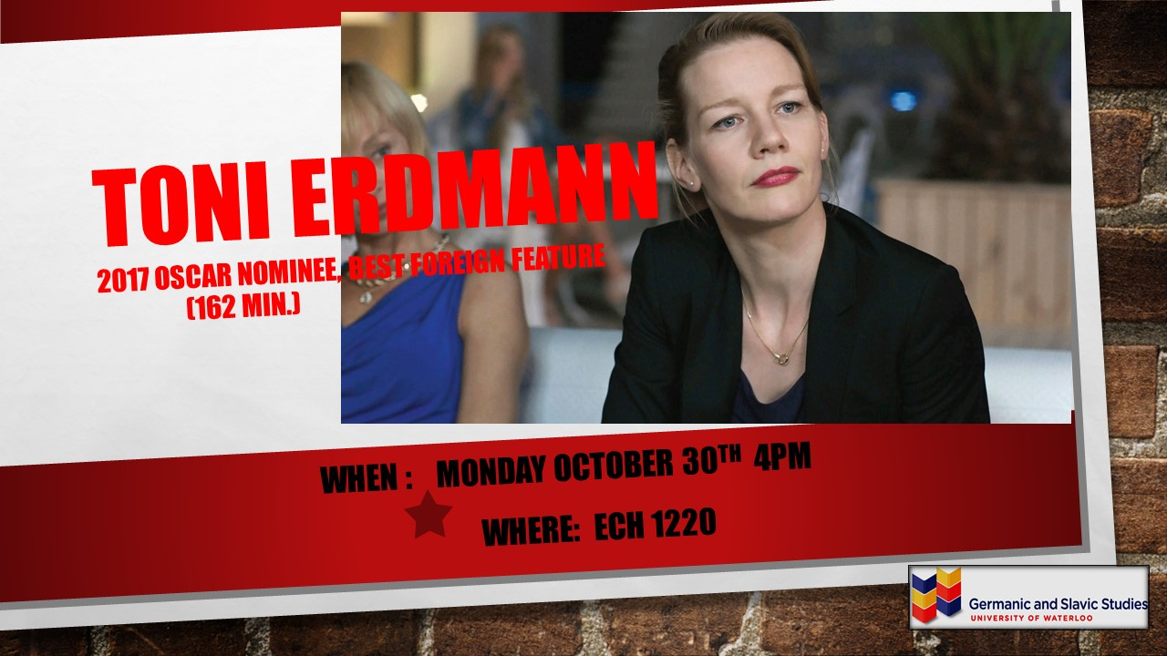 Poster for Toni Erdmann film showing, 30 Oct. 2017