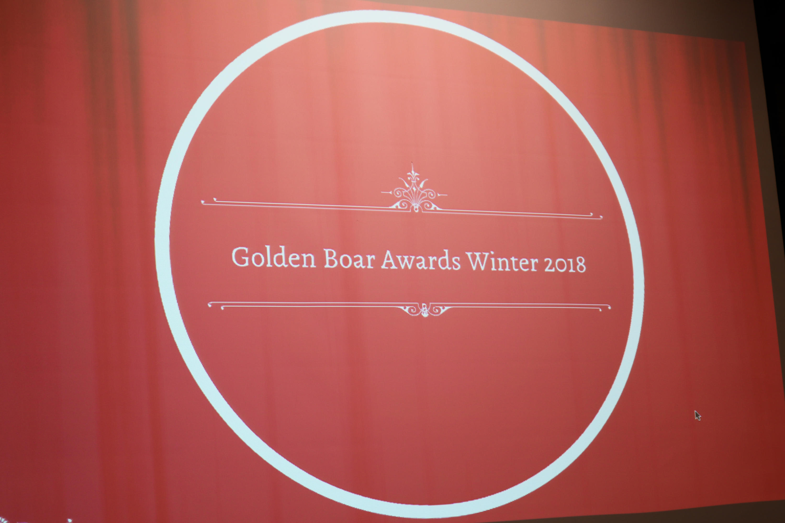 Presentation slide for Golden Boar Awards