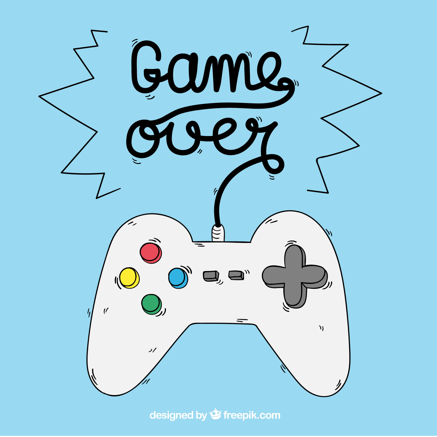 Video game console with text Game over.