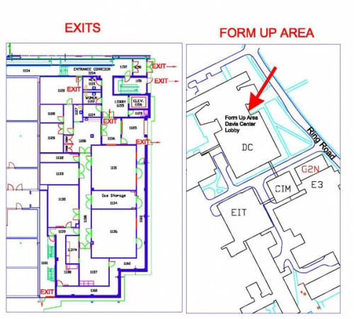 Lab evacutation, exits and form up area