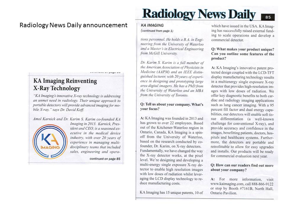 KA Imaging Reinventing X-Ray Technology