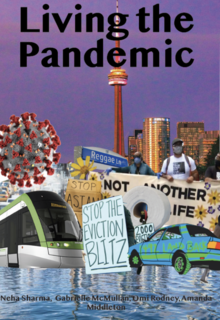 Ling the Pandemic cover image showing overlapping illustrations of everyday life such as buildings and cars