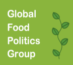 Global Food Politics Group in white lettering on a bright green background with a dark green vine climbing up the right hand side of the image.