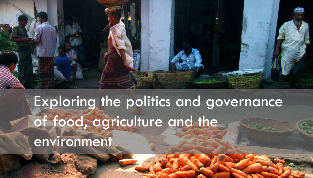 Market in Dhaka with text exploring the politics and governance of food, agriculture and the environment