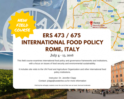 "Informational poster for ""International Food Policy Course"" held in Rome, Italy summer 2016."