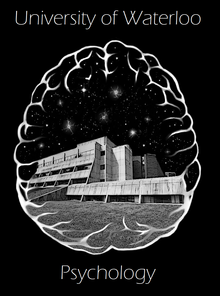Image of Psychology Anthrolopology and Sociology Building surrounded by outline of a brain.