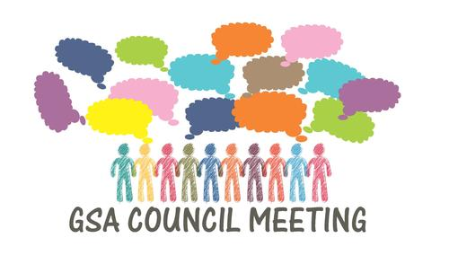 graphic of faculty colours for GSA Council Meeting.