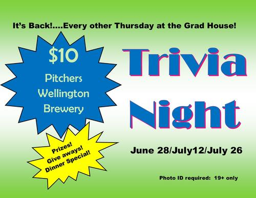 Green and blue poster promoting Grad Trivia Night at the Grad House.