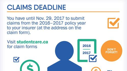 Reminder that November 29th is the deadline to submit claims for the period ended August 31, 2017.
