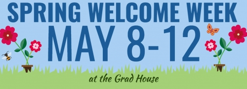 Spring Welcome Week May 8-12, flowerpots on grass against a blue sky