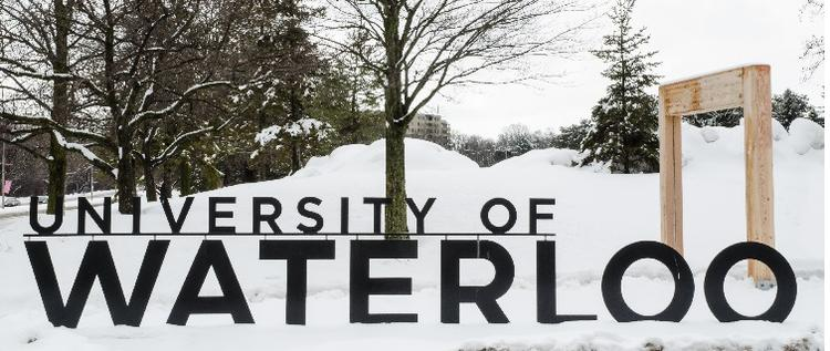 University of Waterloo sign with snow