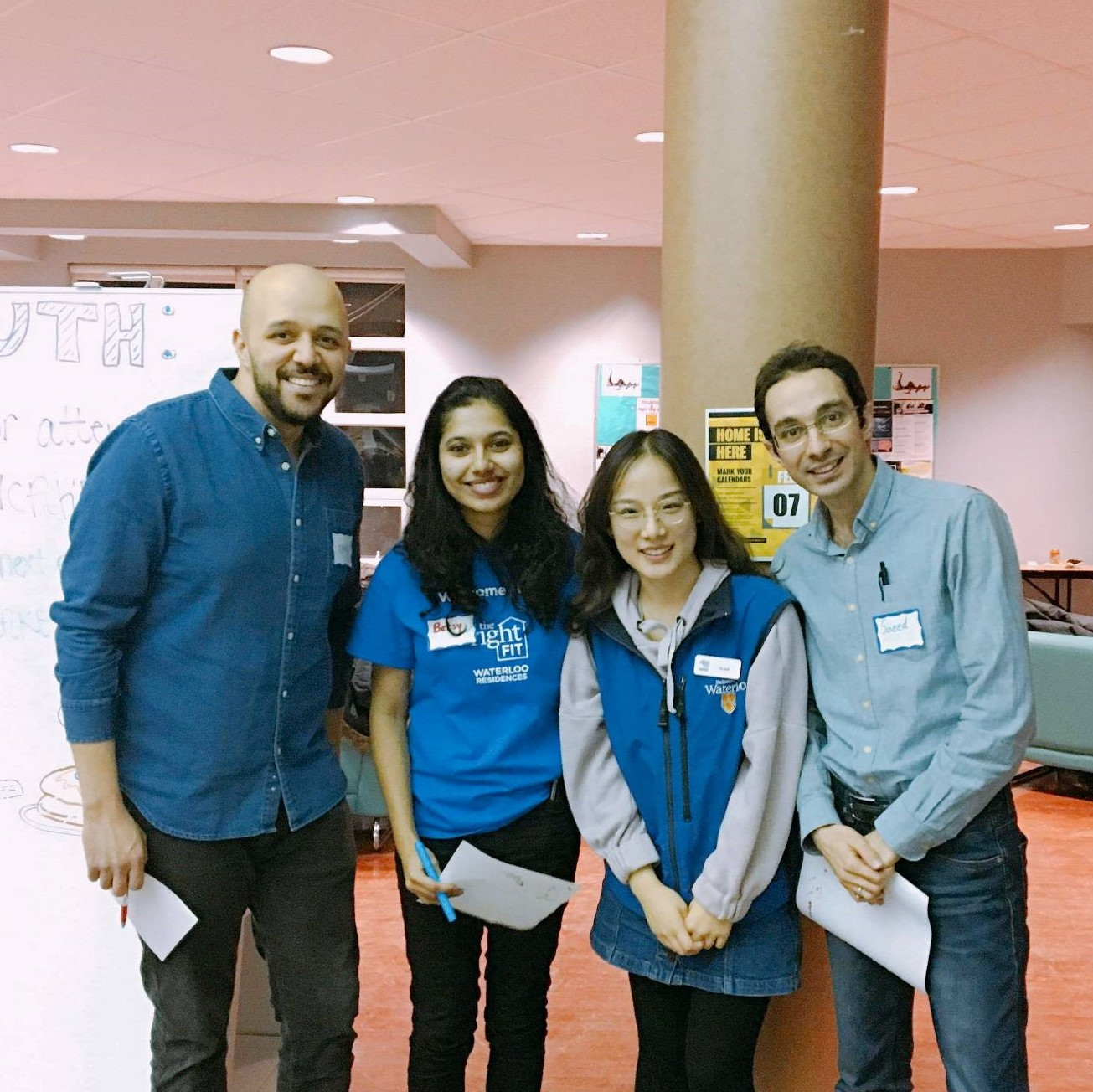Betsy Mathew, second from left, with the Community Assistant team at the CLV Ping Pong/Foosball/Pool tournament. (Photo credit: Ekin Eray)