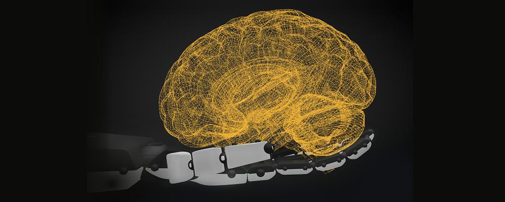 hand holding a brain