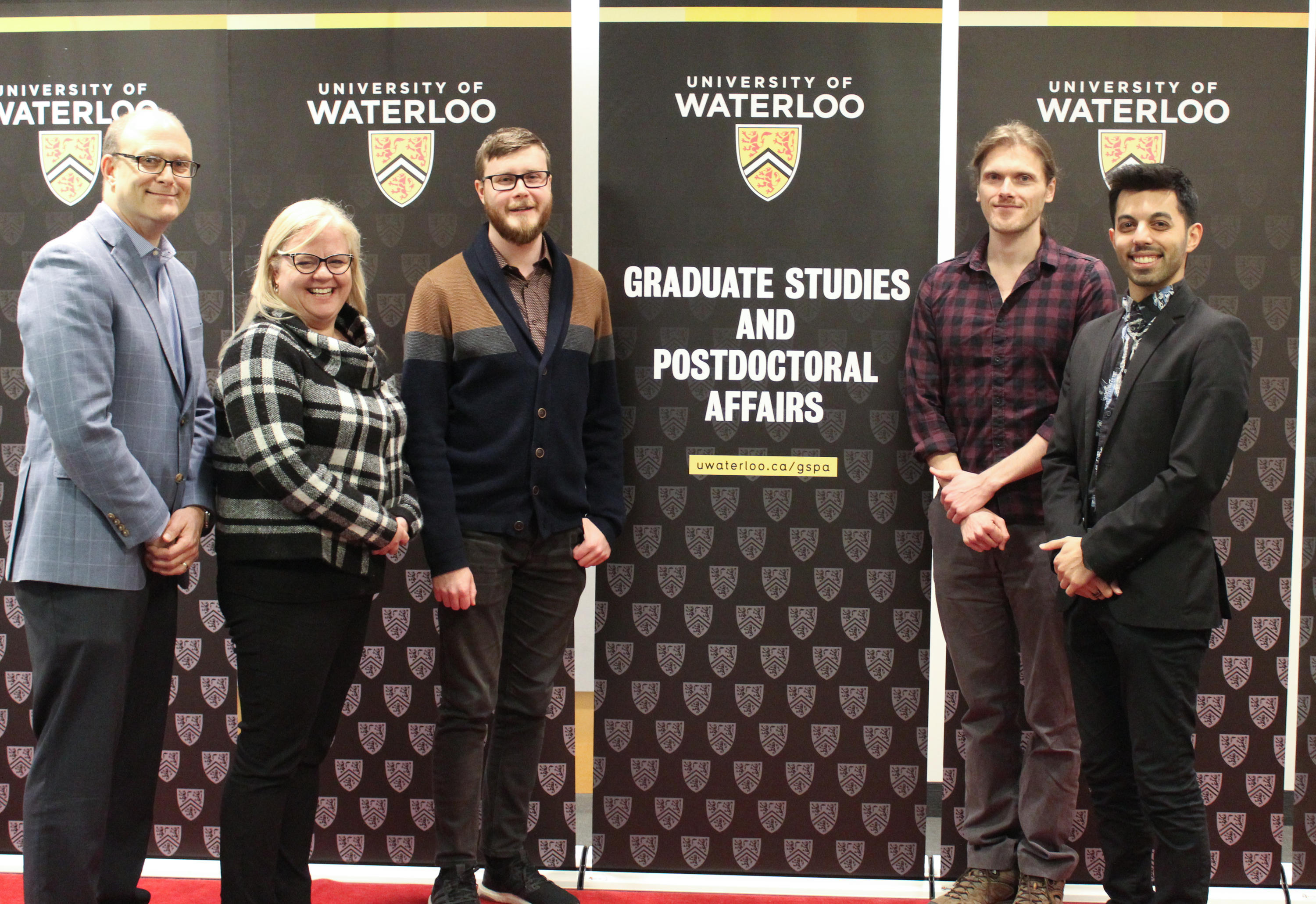 The GRADflix winners pose on the red carpet