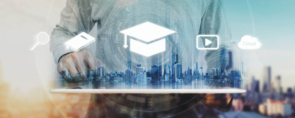 Person in front of city with graduation hat icon