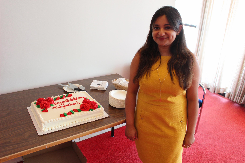 Priyanka Roy with her celebratory cake