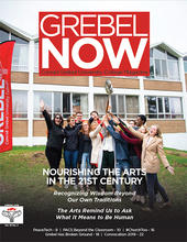 students at ground breaking on cover of Grebel Now