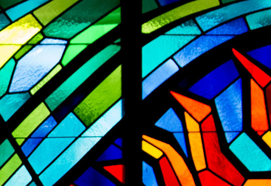 Stained glass window in the Grebel Chapel