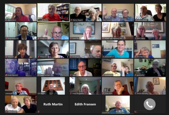 A screenshot of a zoom call with alumni