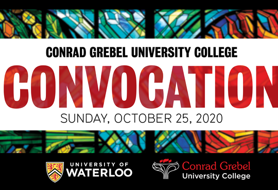 Conrad Grebel University College Convocation graphic with stained glass