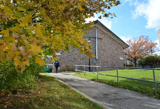 A view of the grebel chapel from outside during fall