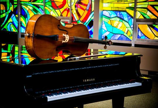 piano and cello in Grebel chapel
