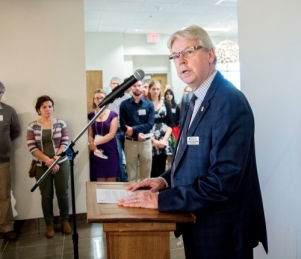 MSCU CEO Brent Zorgdrager speaks at the  Frank and Helen Epp Peace Incubator opening