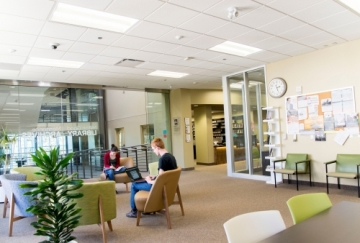 Students studying at the Grebel Library
