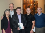 "group picture of mennonite authors at the ""Sons and Mothers"" book launch"