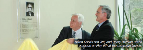 Milton Good's son Jim, and Henry Paetkau unveil a plaque on May 6th at the campaign launch.