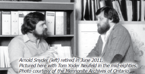 Arnold Snyder and Tom Yoder Neufeld in the mid-1980s. Photo courtesy of the Mennonite Archives of Ontario.