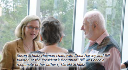 Susan Schultz Huxman chats with Dona Harbey and Bill Klassen at the President's Reception. Bill was once a roommate of her father's, Harold Schultz.