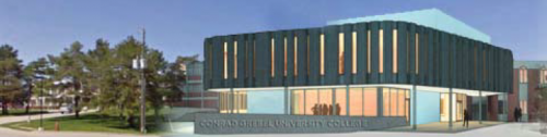 A CAD drawing/design of the planned new building at Conrad Grebel University College.