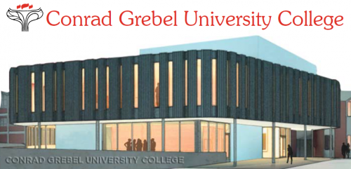 Conrad Grebel University College logo with CAD drawing/design of the new planned building.