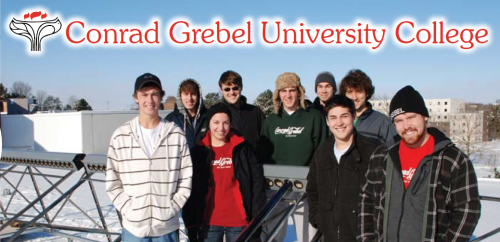 Conrad Grebel University College logo with a group photo of the participants of Solar Grebel.