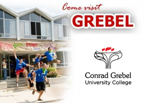 Students existing out of Conrad Grebel University College with style, a heading that says Come visit Grebel, and a picture of the Grebel's logo
