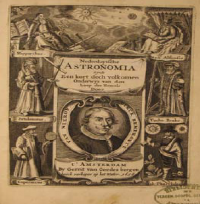 Frontispiece of Dirk Rembrandtsz. van Nierop, Nederduytsche Astronomia, 1658. University of Amsterdam Library. This book was formerly from the Library of the Amsterdam United Mennonite Church.