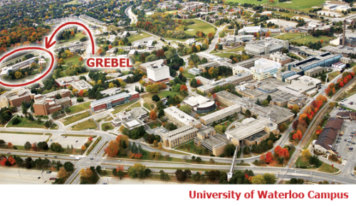 Aerial photo showing where Grebel is at the University of Waterloo