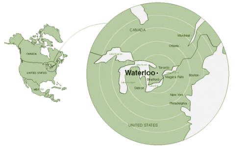 A map of North America with a pop out map showing where Waterloo is