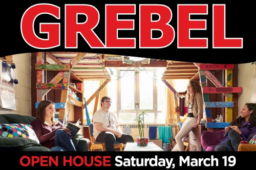 "poster that says ""Grebel"" with students in the background"