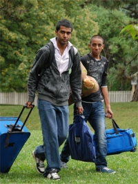 Two Grebel students moving in.