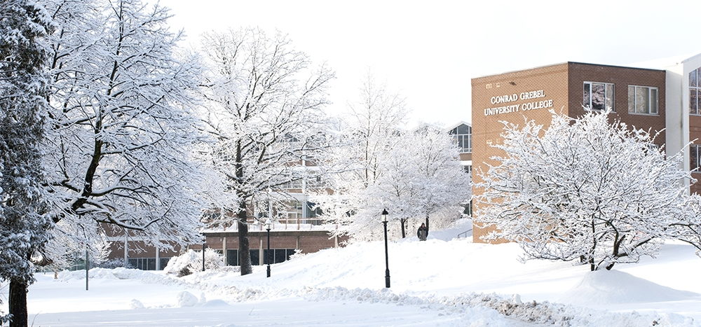 Grebel building in the snow