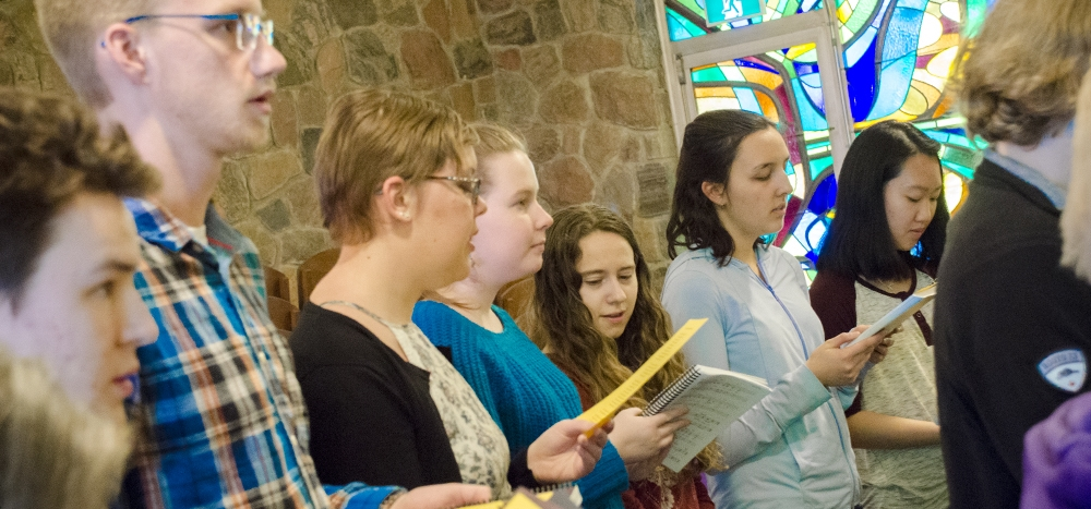 Students in the Grebel Chapel