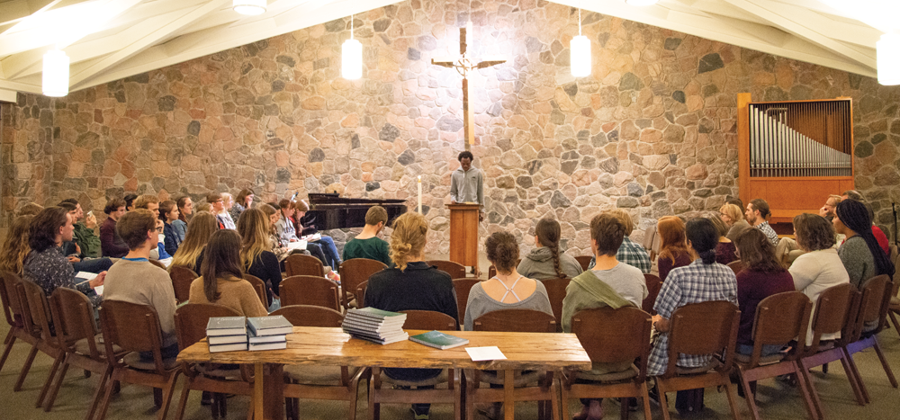 Students gather in the Grebel Chapel for a regular service