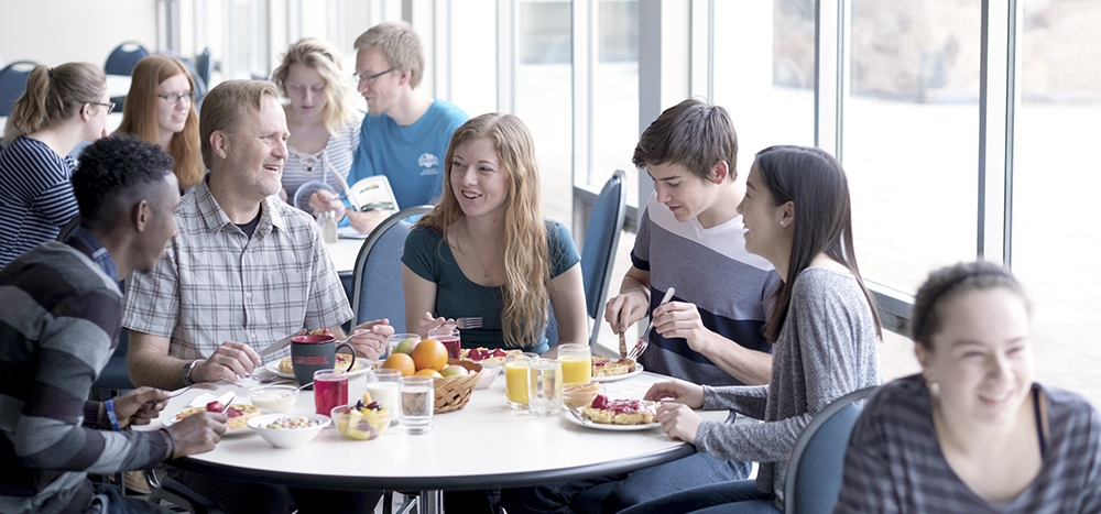 Students sharing a meal