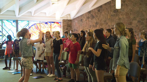 Ontario Mennonite Music Camp singing in chapel