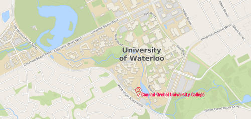 Map of the University of Waterloo locating Conrad Grebel University College