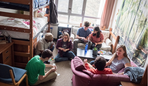 Students in Grebel residence room