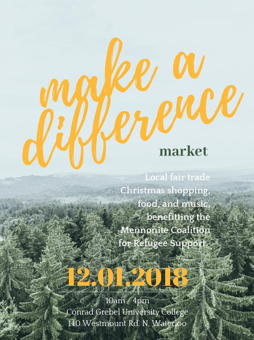 Join Grebel's Peace Society at the Make a Different (MAD) Market, December 1st.