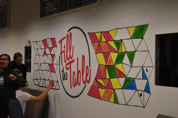 students paint dining room